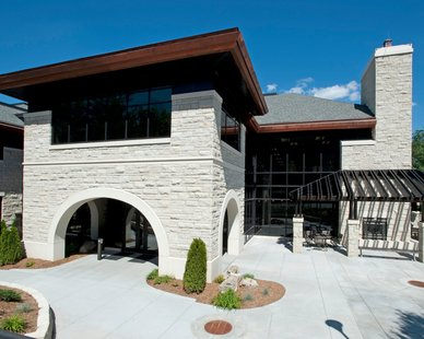 American Artstone supplied arches, bands, sills, base, caps, and fireplace surround for the KSU School of Leadership Studies.