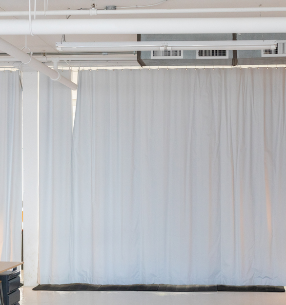 Blackout curtains by blackoutcurtains.com come in any size to fit any space. Seen here are floor to ceiling curtains to provide light control for this space.   Photo credit:Quincy Street Kitchen