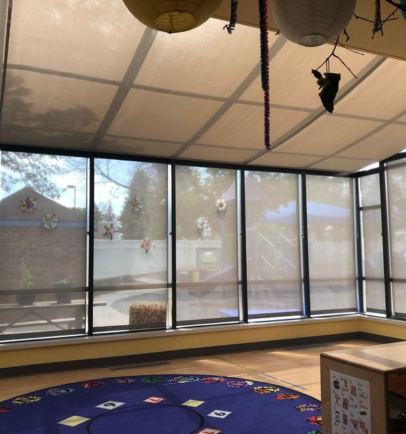 Beautiful sunroom covered in American Drapery products can be found at this school in St. Paul, Minnesota.