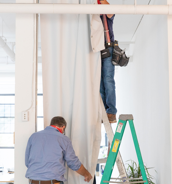 Installation of Blackout Curtains.com to Studio Q in Minneapolis, a co-working space for photographers and creators alike.   Photo credit:Quincy Street Kitchen