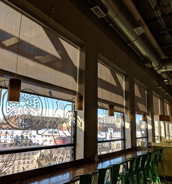 Commercial shades provided by American Drapery were the perfect choice for seating at the Whole Foods in Edina, Minnesota.