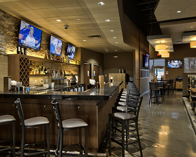 Bar and restaurant area located inside the HyVee in New Hope, MN, by Anderson Companies.