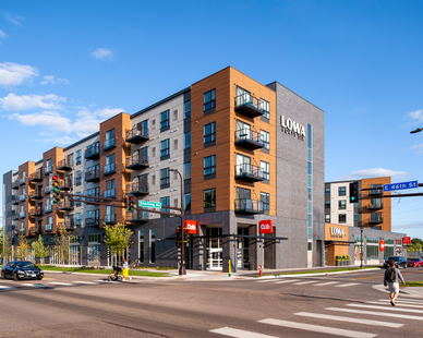 Lowa46 includes 148 luxury Minneapolis apartment living, Cubs Foods grocery store, and small-shop retail.