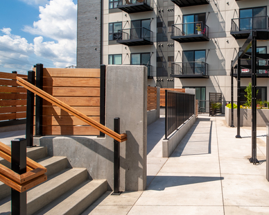 The exterior of Lowa46 Minneapolis apartment living, by Anderson Companies.