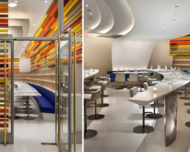 Café 3creates inventive forms for an elliptical espresso bar and attenuated tapered counters.
