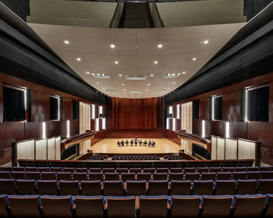 The beautiful large auditorium at The DePaul University Holtschneider Performance Center in Chicago, Illinois, designed by Antunovich Associates.