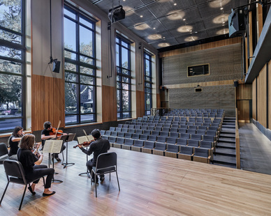 Enjoy music and performances in one of the many performance halls at The DePaul University Holtschneider Performance Center in Chicago, Illinois, designed by Antunovich Associates.