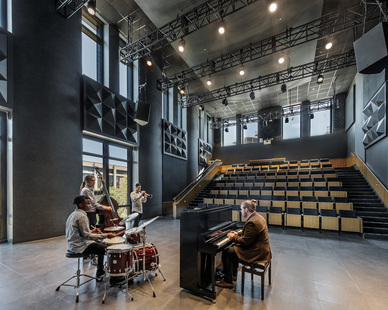 Antunovich Associates designed the interior of the performance spaces at The DePaul University Holtschneider Performance Center in Chicago, Illinois, designed by Antunovich Associates.