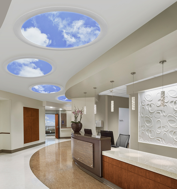 Aperture SkyCeilings create a visually intuitive, wayfinding system with its three circular and two elliptical sizes.