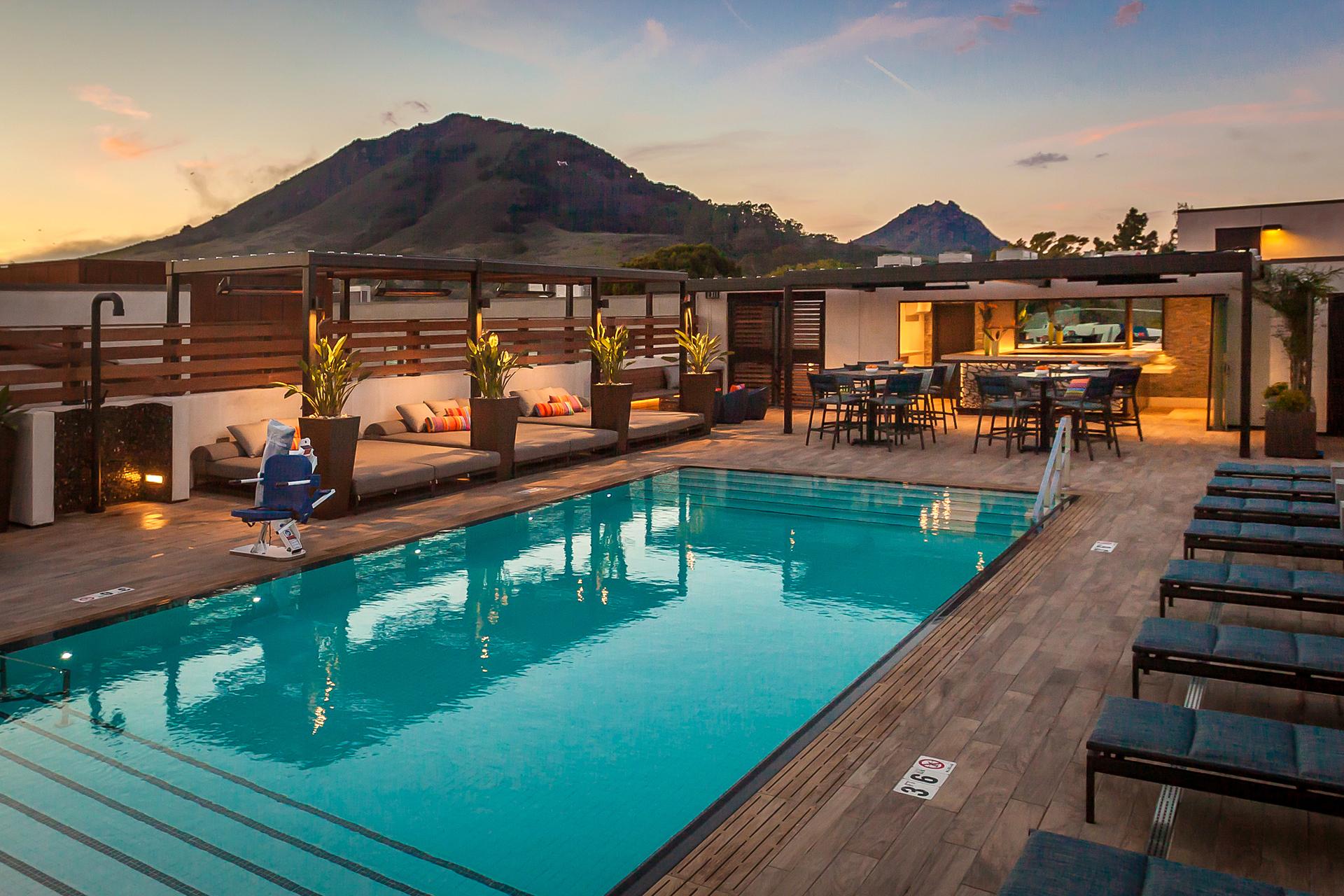 Aqua Design International Hotel Cerro Hospitality Design Rooftop Swimming Pool Pergola Lighting Ideas