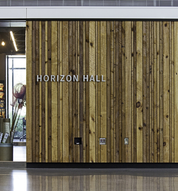 Featured here in the interior of the Bell Museum is a stunning cladded wall. This Pine was locally sourced, modified and installed by Arbor Wood Co.
