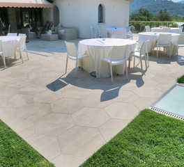 Archatrak Hexagonal Porcelain Pavers Outdoor Courtyard Seating and Tables