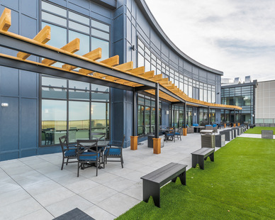 When creating gathering space on rooftop decks and terraces, common design challenges include how to protect the roof membrane and how to accommodate for gradual slopes on the roof's surface. Archatrak's solution to these design challenges are height adjustable and self-leveling support pedestals, which are both functional and affordable.