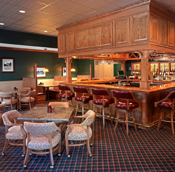 Classic dining and bar area at Arlington Ridge Village Tavern featuring chairs by Gasser Chair.