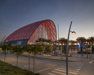 Ferrari Images captured this photo of Artic Station of Anaheim, CA at dusk to highlight the architectural glass walls and colorful lights.