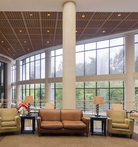 This unique pre-assembled, open-cell type of ceiling system conceals the clutter of sprinklers, ducts, lights, and raceways while permitting the function of those mechanical systems through the open louver design, with 100% accessibility.