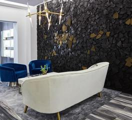 ASI Architectural System Fusion Wood Panels s Fabrikant Jewelry waiting area feature wall design