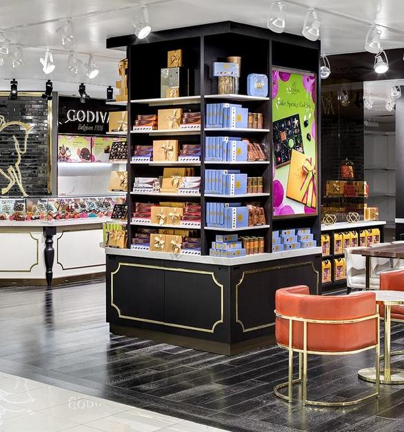 ASI Architectural System's custom hardwoods were selected for the flooring solution in the Godiva retail location.