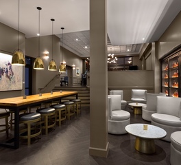 ASI Architectural Systems DeSoto Hotel Edgar's Proof & Provision Restaurant Custom Herringbone Hardwood Dark Engineered Oak