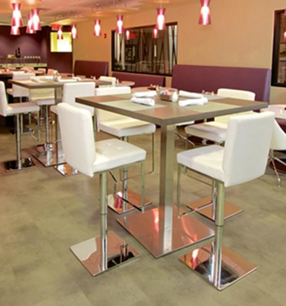 The restaurant located in the Kellogg Conference Hotel features vinyl flooring from ASI's Concrete Vinyl Collection.  Photo Courtesy of Robelan Displays Inc.