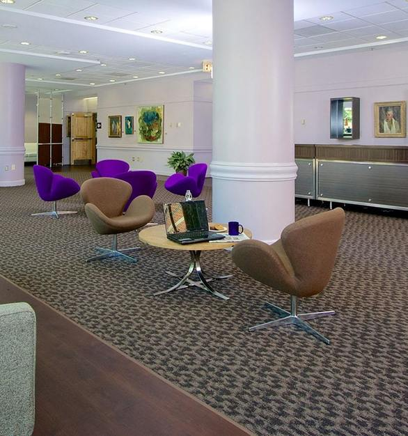 ASI Eco-Tech® Resilient Flooring can be found in the lobby of the Kellogg Conference Hotel.  Photo Courtesy of Robelan Displays Inc.