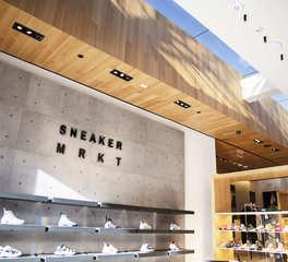 ASI Sneaker MRKT Hirshleifers Retail Design Ceiling Serenity Redux® Engineered Hardwood