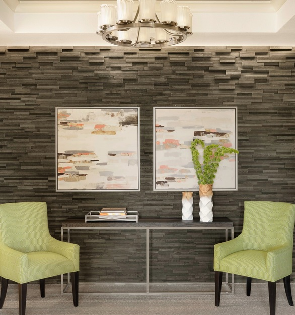ASI Interwoven Eco-Panels help marry rustic chic and elegant for a timeless appeal for this newly constructed Langford retirement community.  Photo Courtesy ofSpellman Brady & Company
