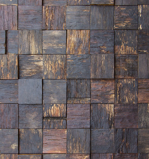 Close up view of ASI Architectural Systems' Fusión Wood Panels - Reclaimed Wine Barrels | Spec ID# WPFSN012