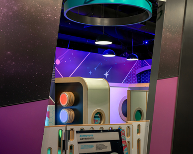 Small children and parents love this section of the museum, interactive and safe play area to learn about space.  Custom lighting help illuminate the exhibits.