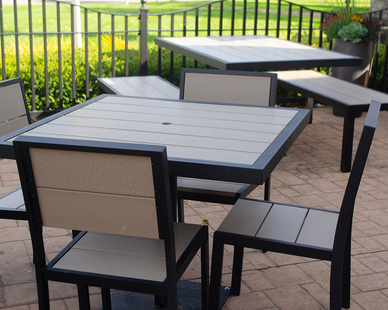 Perfect for any outdoor seating--patio, courtyard, dining and pool area.    Made of powder-coated aluminum and recycled plastic lumber, the Aurora series is durable and stylish.
