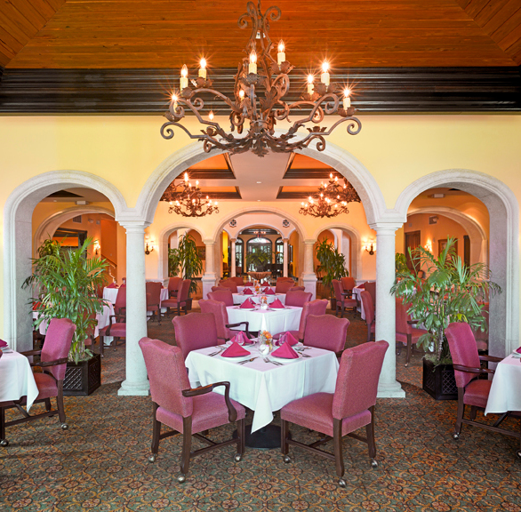 Elegant dining area at Avilla Country Club featuring Gasser Chairs.