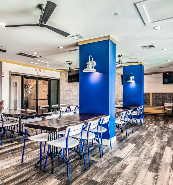 Utilizing LED lighting in commercial venues is a wise choice thanks to the savings on energy and maintenance time and costs. Barn Light's line of LED lighting features an integrated LED module which is housed in the backing plate of these wall sconces. While incandescent bulbs typically last around 1,000 hours, this restaurant's LED wall lights should last an average of 50,000 hours.