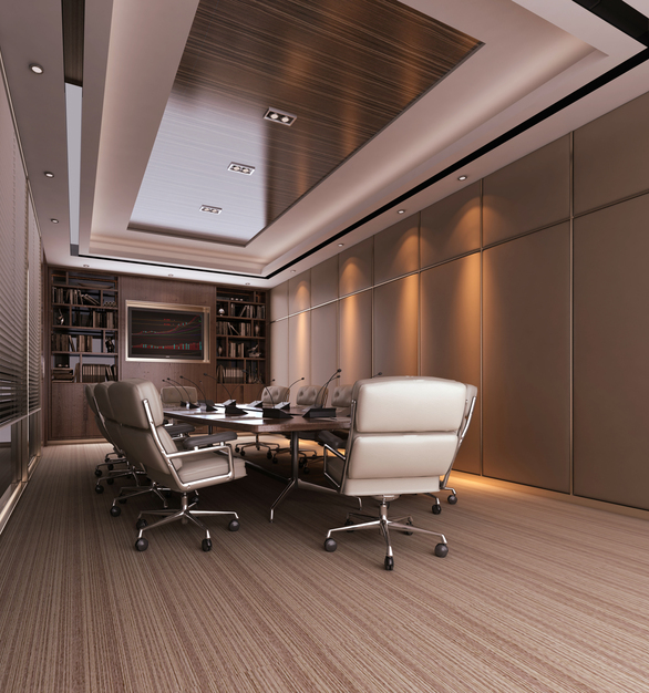 Conference room featuring MCK on the fur down and RPS-100 with fabric panels.