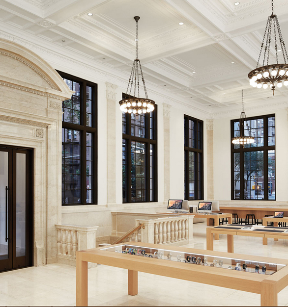 The classical interior of the Apple Store in East Side, New York, showcases a clean and functional design while incorporating BASWA Phon acoustical plaster to accomplish the desired look.