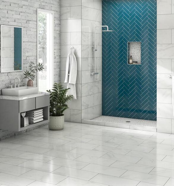 The blue Pure Pacific Glass Tile is the perfect accent color for this light bathroom.