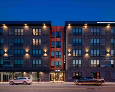 The exterior of the Flux apartment building in Des Moines, IA. Photography by Brandon Stengel - www.farmkidstudios.com Instagram:  @farmkidstudios