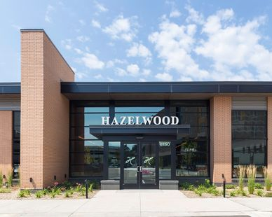 The exterior of Hazelwood restaurant in Bloomington, MN, by Bauer Design Build.