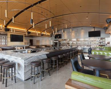A bright, airy mainstay with a contemporary interior at Hazelwood restaurant in Bloomington, MN, by Bauer Design Build.