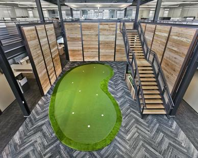 Bauer Design Build completed this 2-story office building that includes a 9-hole putting green.