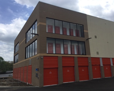 The exterior of level storage at a Uhaul in St. Louis, MO, by Bauer Design Build.
