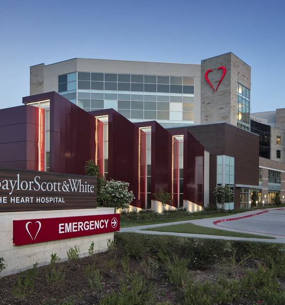 Baylor Scott & White Heart Hospital North Tower expansion includes a new 200-seat auditorium, flanked on one side by SCW9000-A9 acoustic-rated curtain wall.