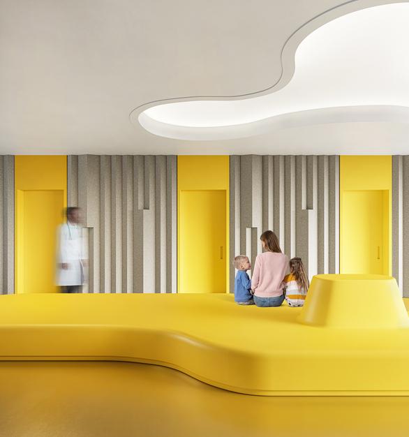 Monolithic bench in cheerful yellow by Durasein.