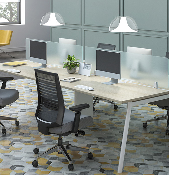 Clean lines and a contoured seating space create an inviting place to focus on important things.