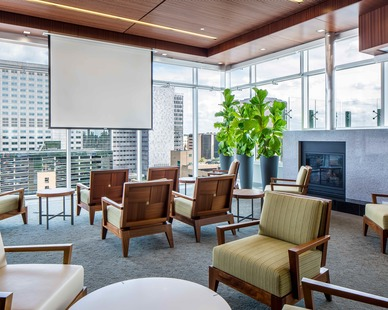 Modern lounge area featuring stunning wood accents in the Dan Abraham Healthy Living Center in Rochester, Minnesota.