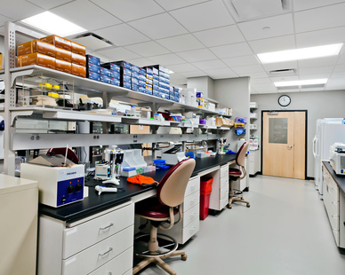Medical research space within the Vyriad offices in Rochester, Minnesota completed by Benike Construction.