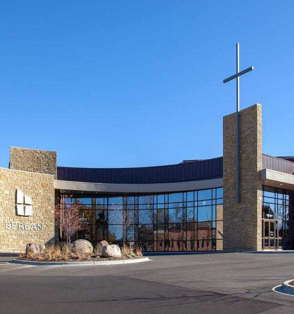The exterior of Berean Baptist Church in Burnsville, MN.