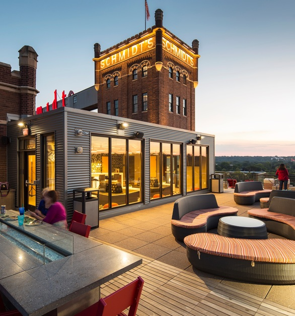 BKV Architects used Bison Wood Deck Tiles to provide an inviting, modern retreat to relax on the rooftop of the new Schmidt Artist Lofts. The modular deck tiles and adjustable pedestals gave the team design flexibility for the unique space.