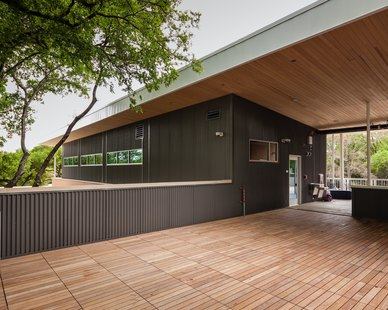 The outdoor environment makes up from then 60% of The Girls School of Austin campus and includes courtyards and rooftop decks. The rooftop deck, made with Bison Innovative Products ipe deck tiles and Bison deck supports, provides a unique alternative educational space for outdoor learning. Bison Ipê Deck tiles are manufactured from long-lasting, responsibly harvested remnants adding to the sustainability of the project.
