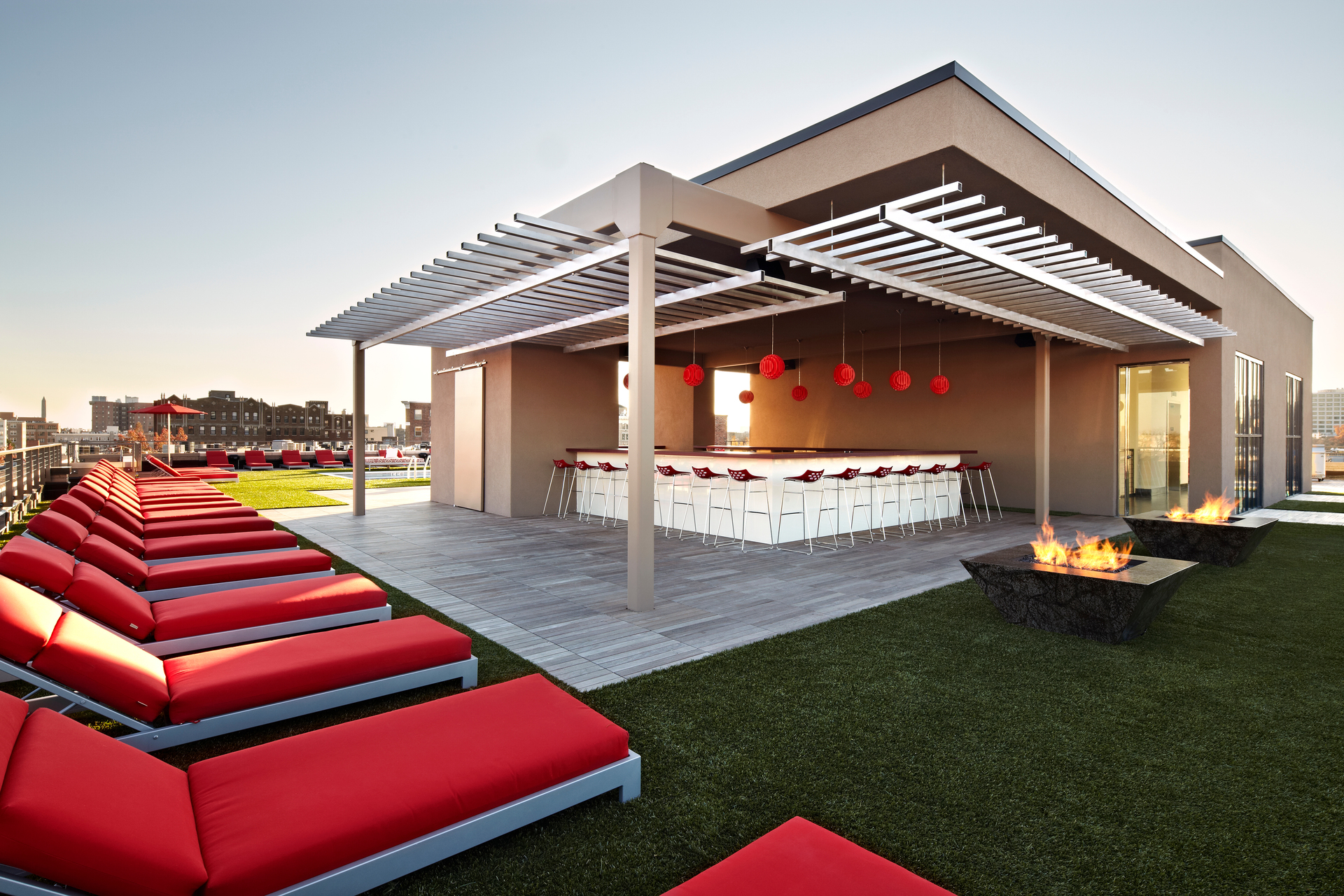 Vida Fitness in Washington, D.C., introduced the Penthouse Pool Club in 2011. The club penthouse features private cabanas, lounge and conversation areas, fire pit, and poolside cocktail and foodservice bar.