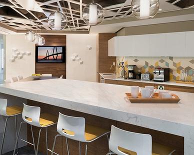 Beautiful break room for Skanska employees.